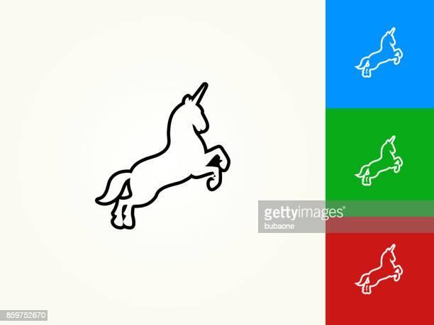 unicorn black stroke linear icon - unicorn stock illustrations, clip art, cartoons, & icons