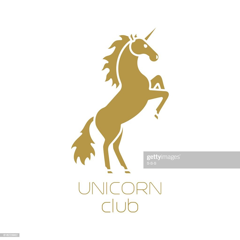 Unicorn club isolated logotype design : Arte vettoriale