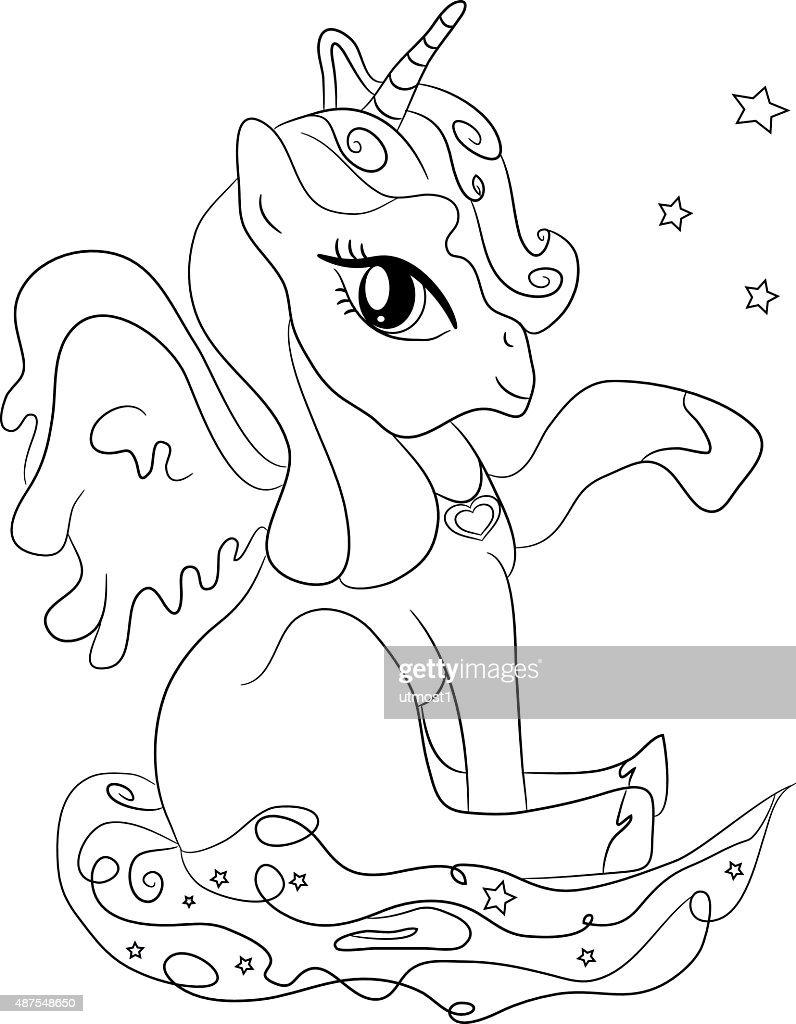 Increíble Unicornio Volador Para Colorear Composición - Dibujos Para ...