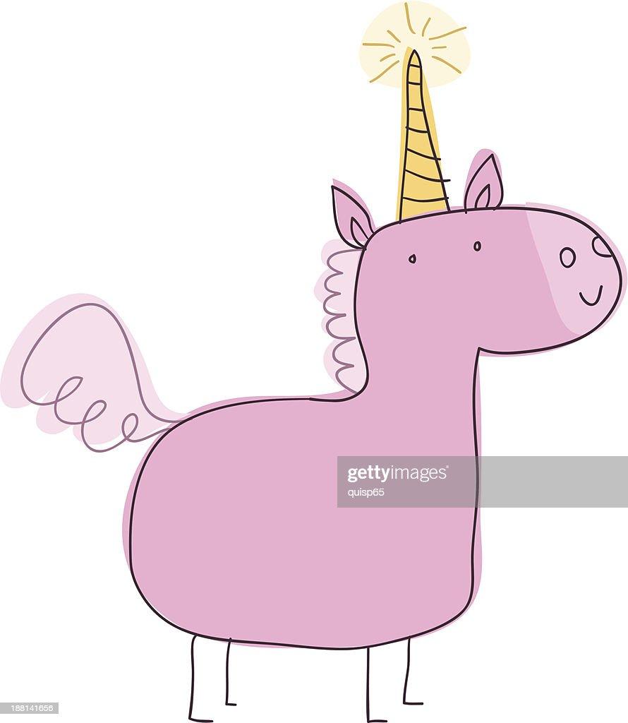 Unicorn Doodle : stock illustration