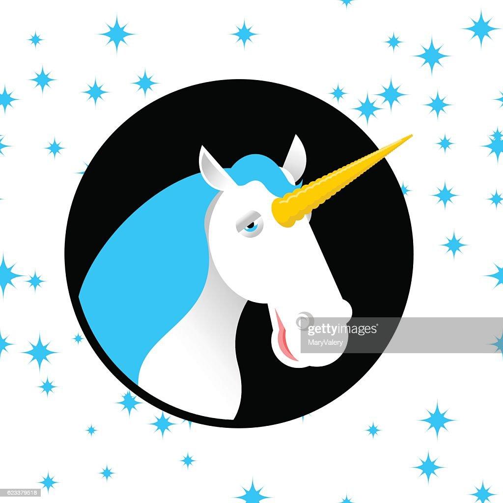 Unicorn fabulous beast with horn. Magic animal with round. Fanta