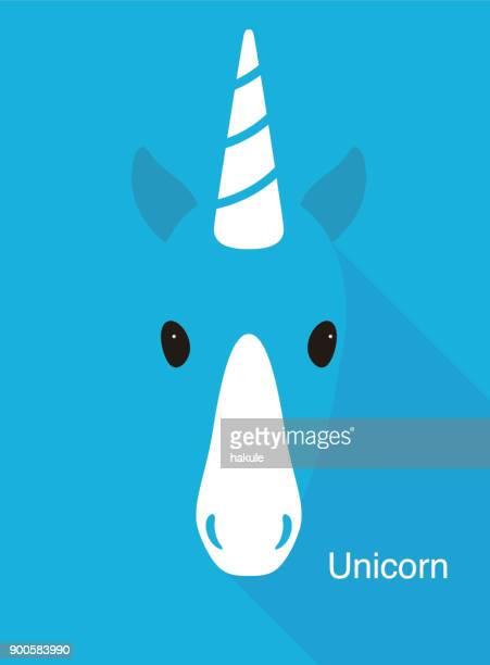 unicorn face flat icon design, vector illustration - unicorn horn stock illustrations, clip art, cartoons, & icons
