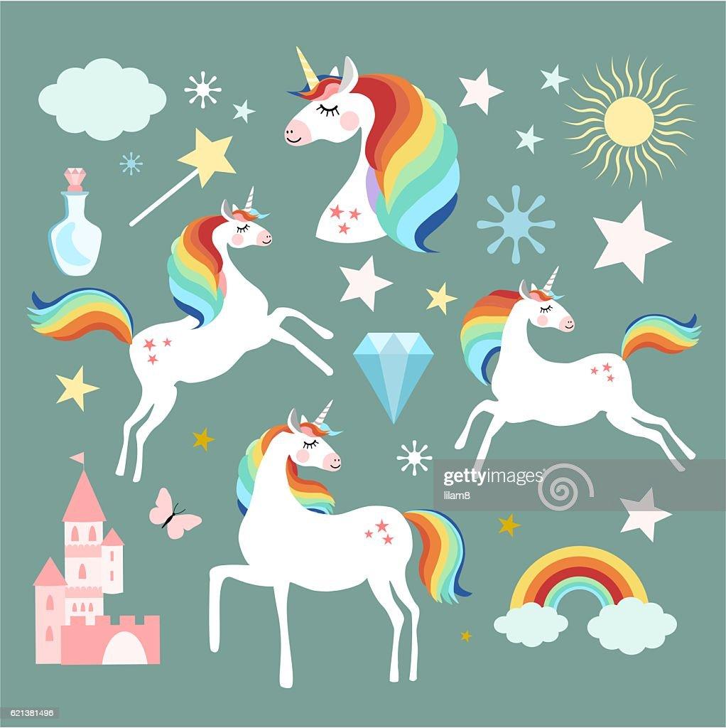 Unicorn fairy magic elements collection