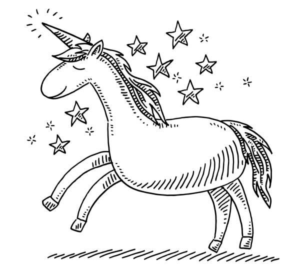 unicorn fantasy animal drawing - unicorn stock illustrations
