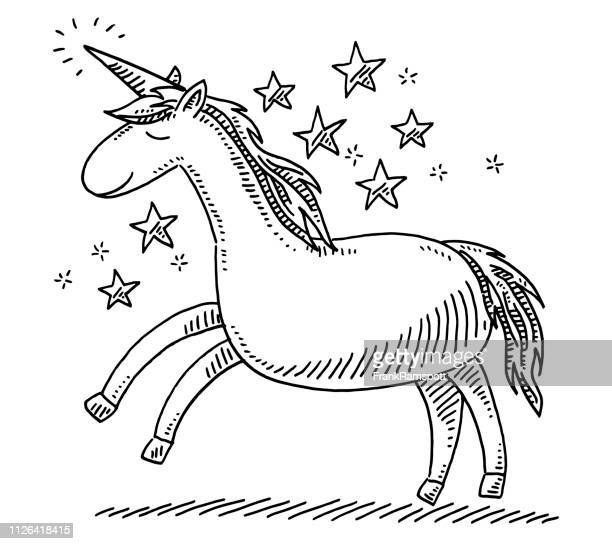 unicorn fantasy animal drawing - unicorn stock illustrations