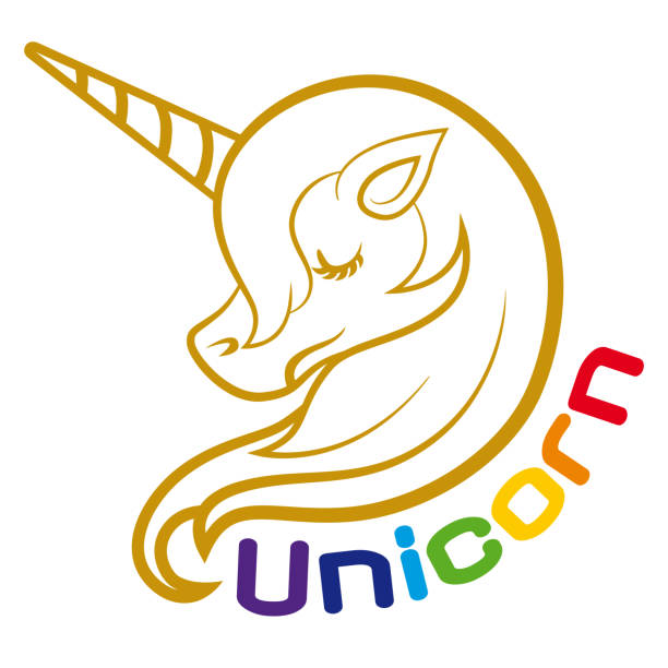 unicorn head clip art - unicorn stock illustrations