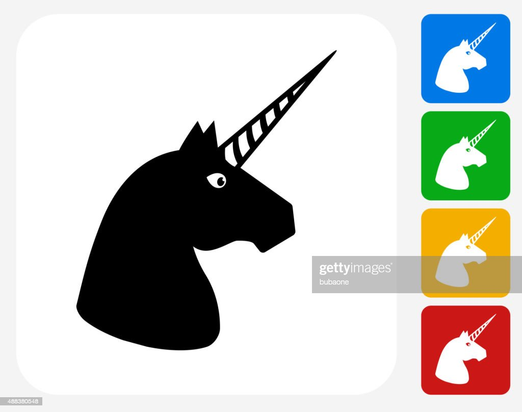 Unicorn Head Icon Flat Graphic Design