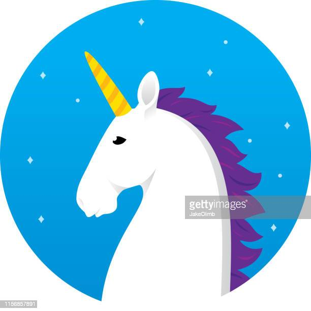 unicorn head icon flat - unicorn stock illustrations