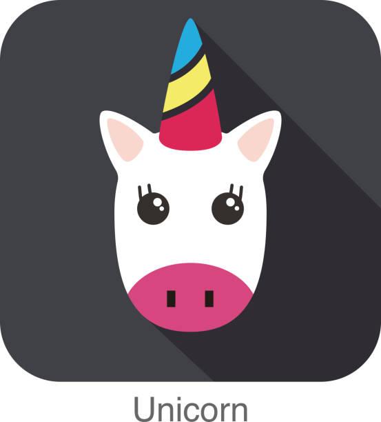 unicorn head, unicorn face, vector cartoon character - unicorn stock illustrations