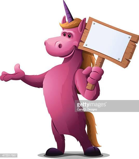 unicorn: holding sign - mare stock illustrations, clip art, cartoons, & icons