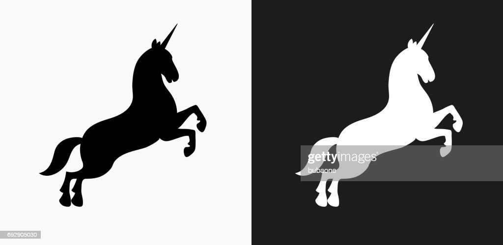 Unicorn Icon on Black and White Vector Backgrounds