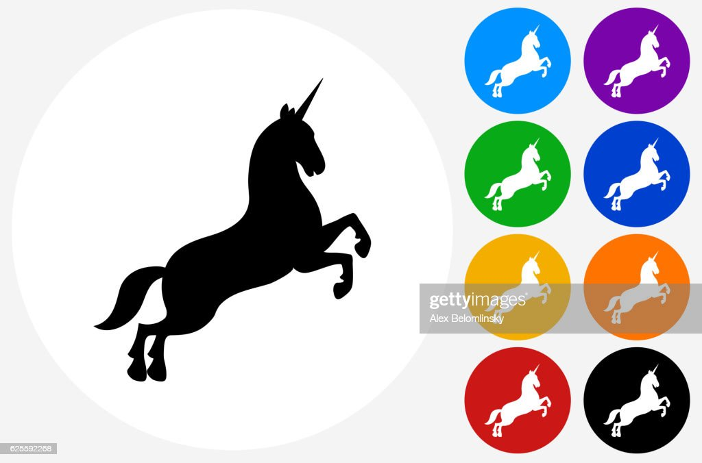 Unicorn Icon on Flat Color Circle Buttons : stock illustration