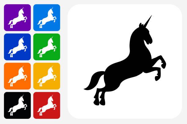 unicorn icon square button set - unicorn stock illustrations