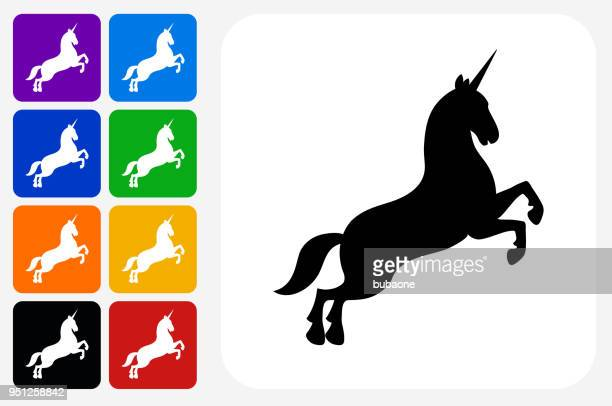 unicorn icon square button set - unicorn stock illustrations