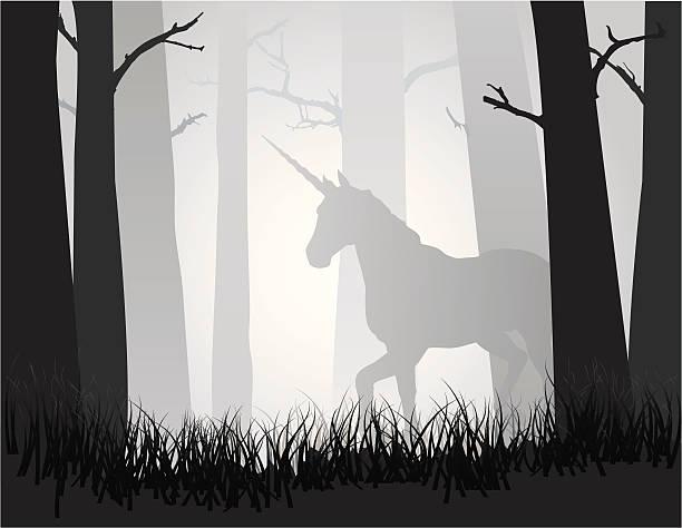unicorn in the forest - unicorn stock illustrations