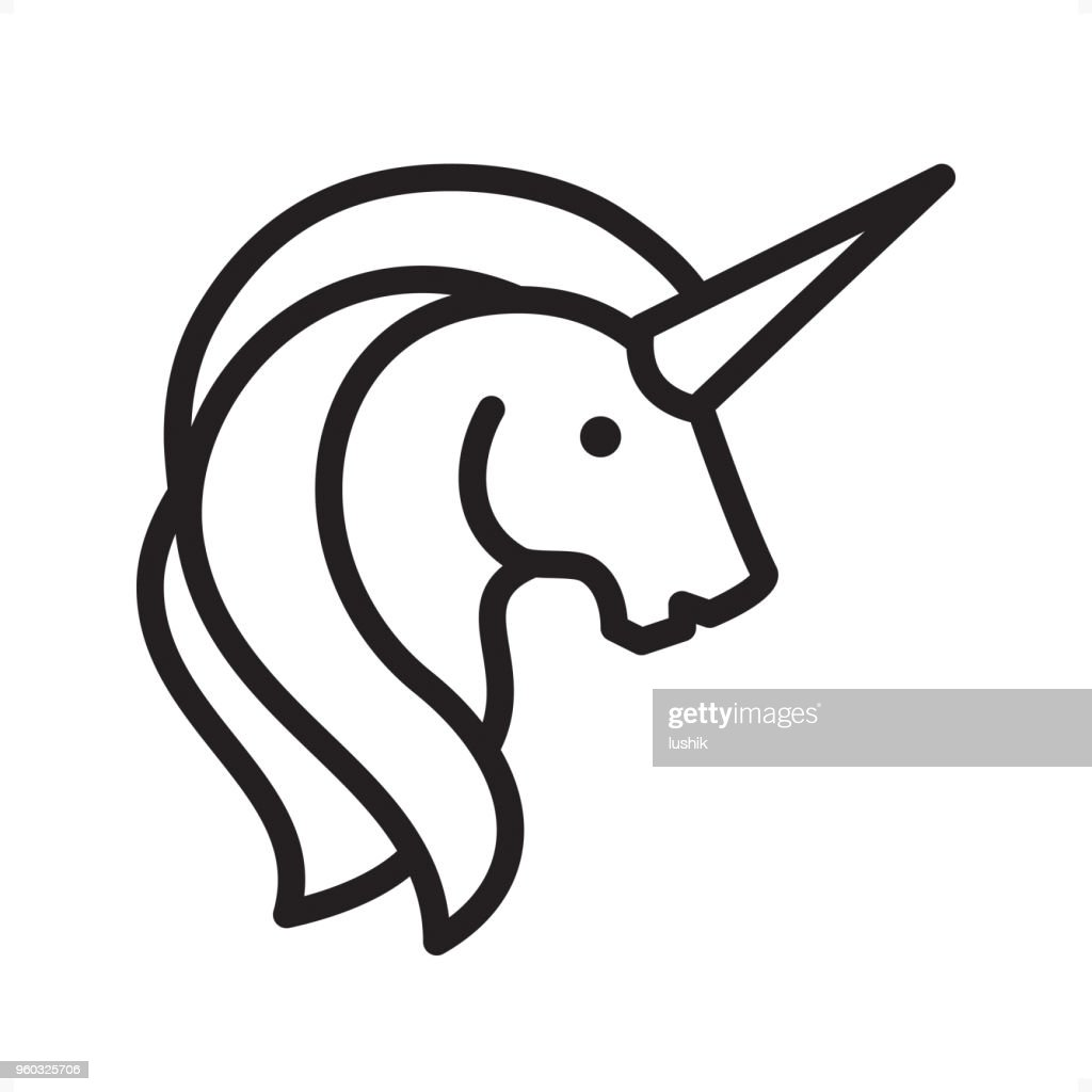 Unicorn - Outline Icon - Pixel Perfect : stock illustration