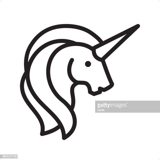 illustrations, cliparts, dessins animés et icônes de licorne - contour icon - pixel perfect - unicorn