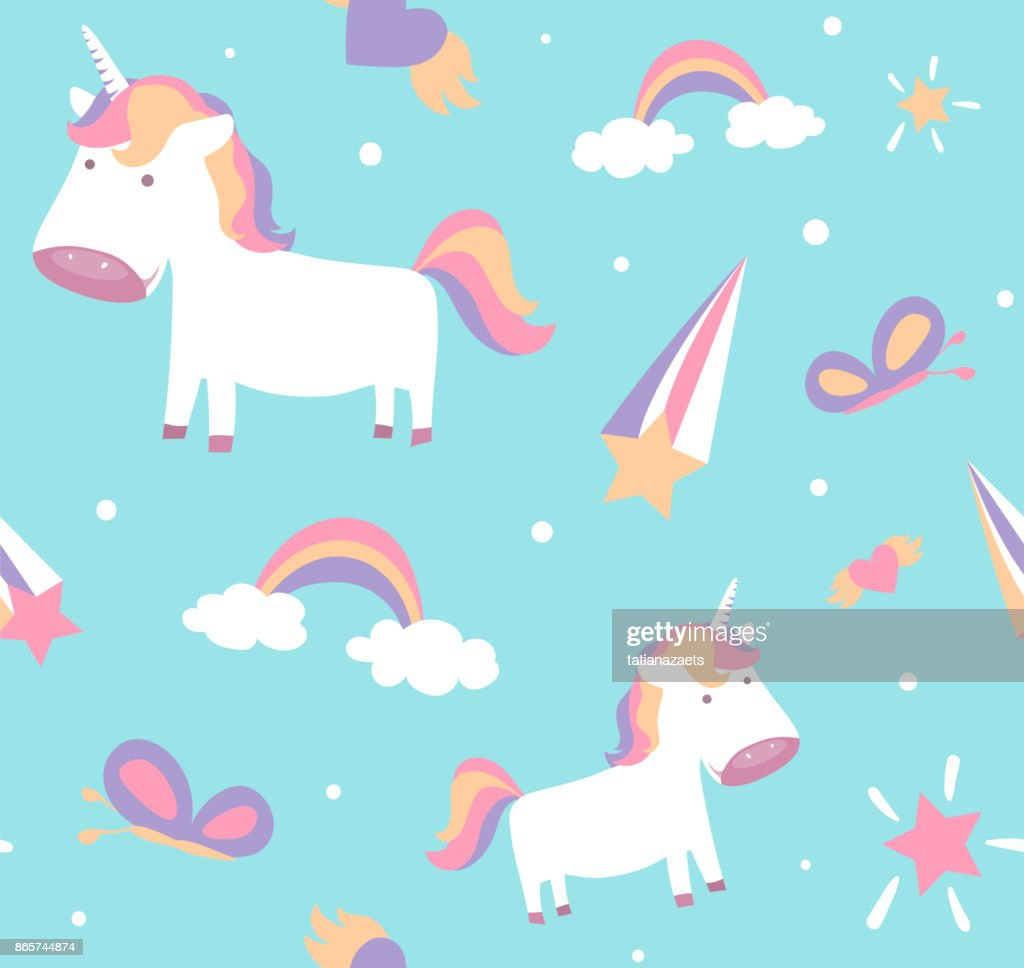 Unicorn pattern. Cute seamless design with baby pony, stars, rainbow, butterfly
