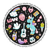 Unicorn pop art comic style round card with stars and magic animals
