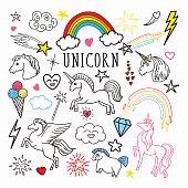 Unicorn Rainbow Magic Freehand Doodle. Stickers