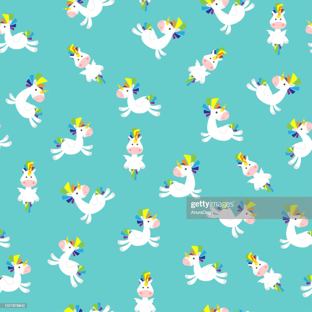 Unicorn Seamless Pattern boys on blue background