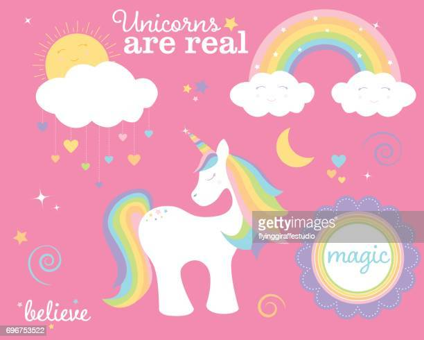 unicorn set - rainbow stock illustrations, clip art, cartoons, & icons