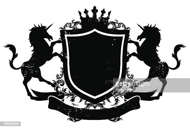 illustrations, cliparts, dessins animés et icônes de licorne shield bannière - unicorn
