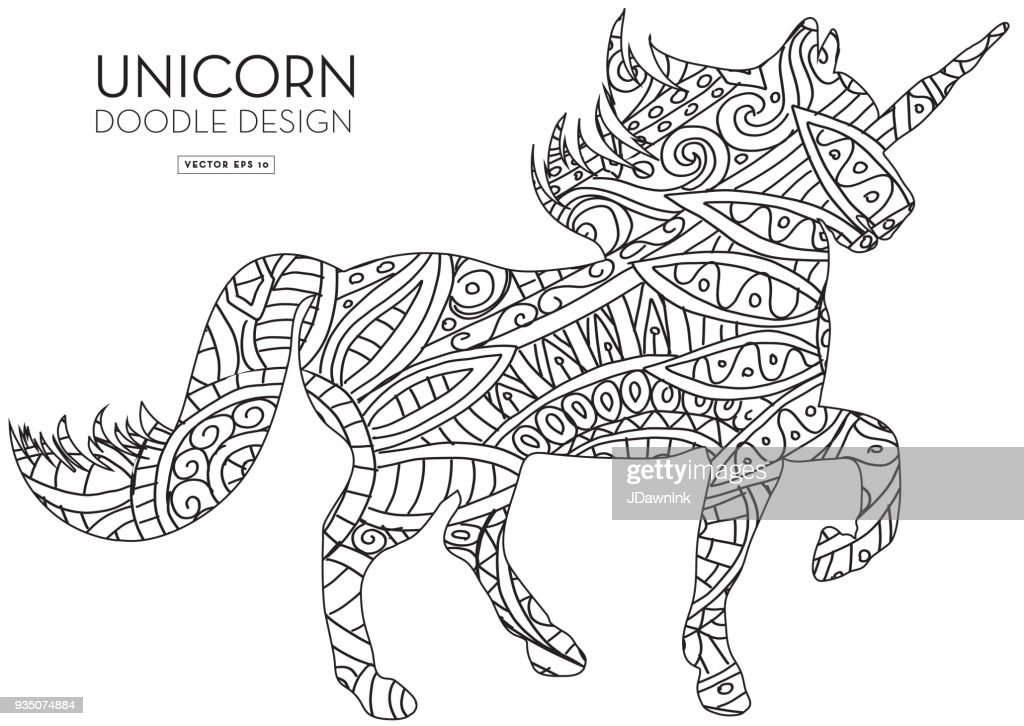 Unicorn Silhouette Doodle Coloring Book Texture Vector Art   Getty ...