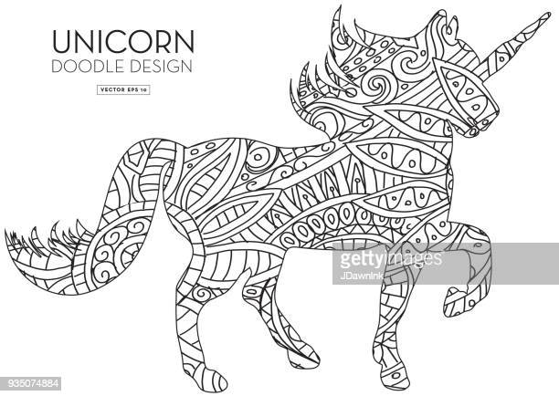 unicorn silhouette doodle coloring book texture - unicorn stock illustrations, clip art, cartoons, & icons