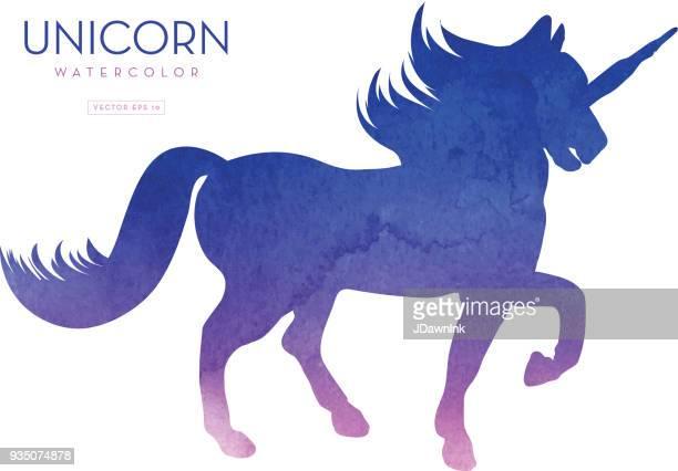 Unicorn silhouette watercolor texture
