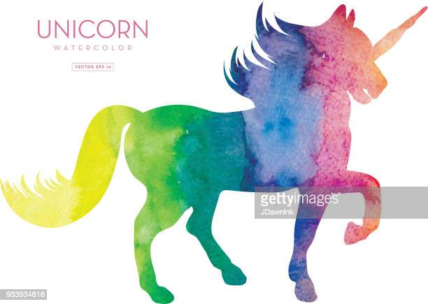 unicorn silhouette with watercolor texture - unicorn stock illustrations