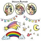 Unicorns portrait and elements
