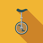 Unicycle Flat Design Carnival Icon with Side Shadow