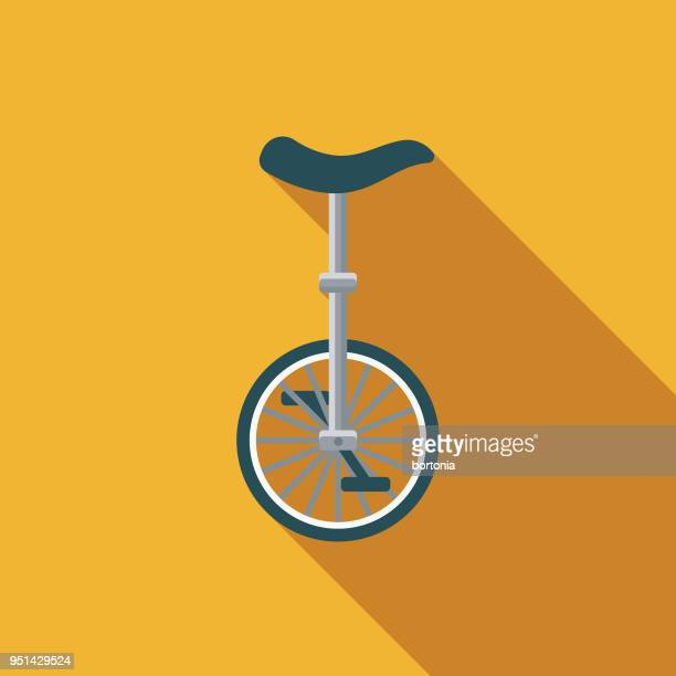 unicycle flat design carnival icon with side shadow - unicycle stock illustrations, clip art, cartoons, & icons