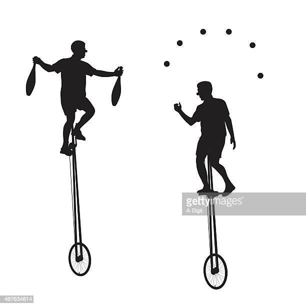 unicyclist - juggling stock illustrations, clip art, cartoons, & icons