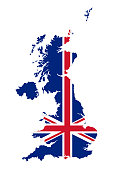 Union Jack in the outline of United Kingdom