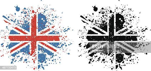 union jack paint splattered flag - british flag stock illustrations