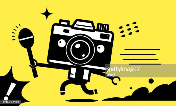 unique camera man character (journalist, youtuber) holding a microphone and running to interview - film crew stock illustrations