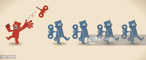 unique manager and group of robot businessman (businessmen) - human representation stock illustrations, clip art, cartoons, & icons