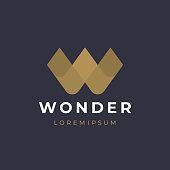 Unique modern creative elegant letter W logotype template. Vector icon.