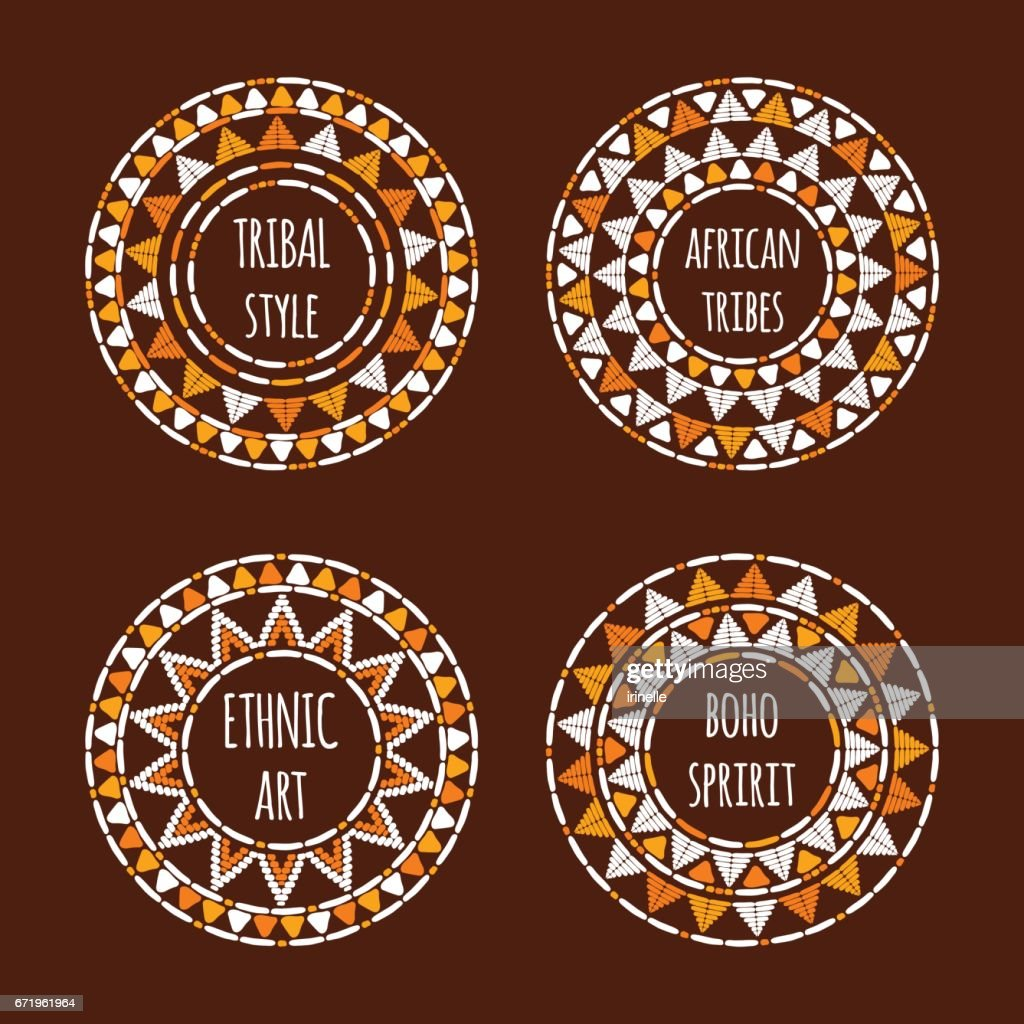 Unique round tribal icon template collection vector