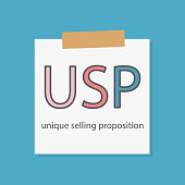 USP Unique Selling Proposition written in a notebook paper