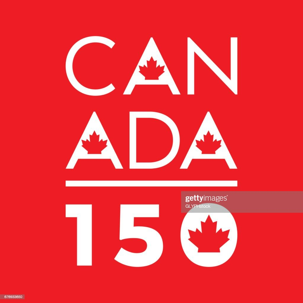 A unique typographic design celebrating Canada's 150th anniversary in vector format.