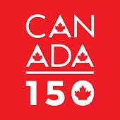 A unique typographic design celebrating Canada's 150th anniversary in vector format.