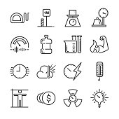 Unit of measurement icon set. Included the icons as miles, meter, tonne, kilogram, decibel, degrees Celsius and more.