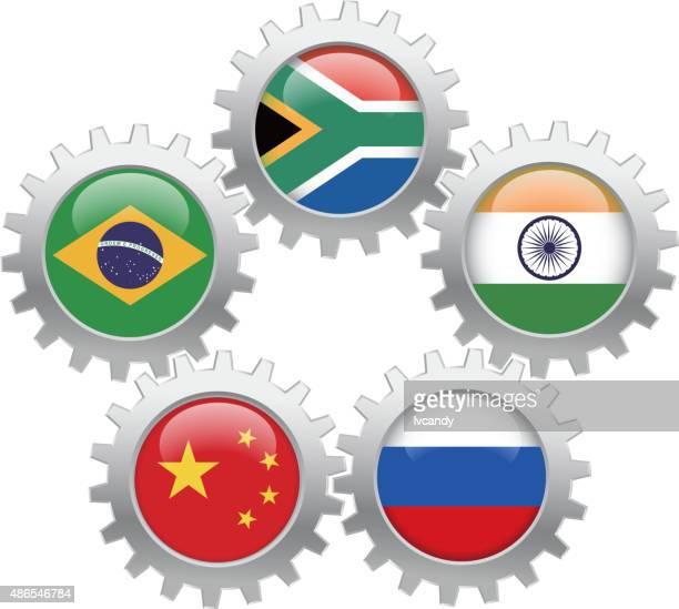 brics (brazil, russia, india, china, south africa) unite - summits russia 2015 stock illustrations