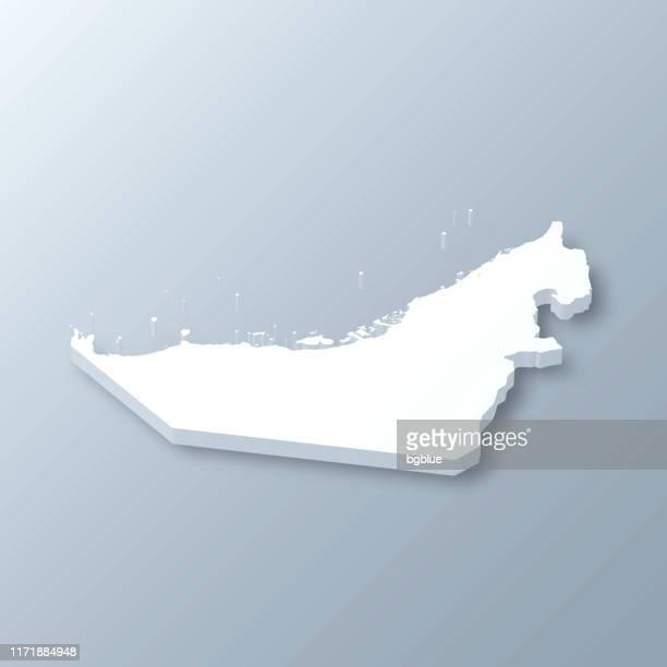 vereinigte arabische emirate 3d karte auf grauem hintergrund - vereinigte arabische emirate stock-grafiken, -clipart, -cartoons und -symbole