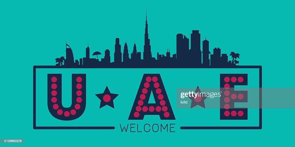 United Arab Emirates city skyline silhouette