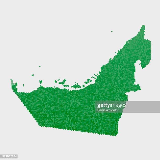 Vereinigte Arabische Emirate Land Map grünen Sechseck-Muster