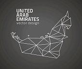 United Arab Emirates dark vector contour triangle perspective map